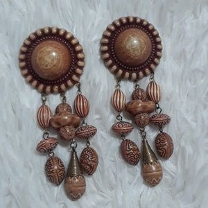 Vintage The Color Of Clay Burst & Beads Earrings
